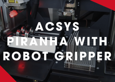 ACSYS – PIRANHA with robot gripper, position detection and automatic processing