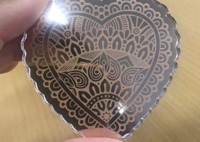 Laser Cut Heart Mandala Pendant